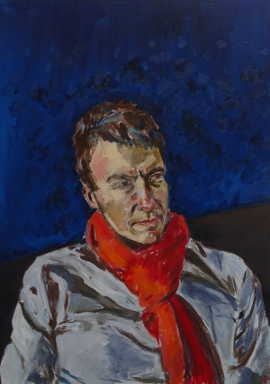 Craig with red scarf #1. 2017.