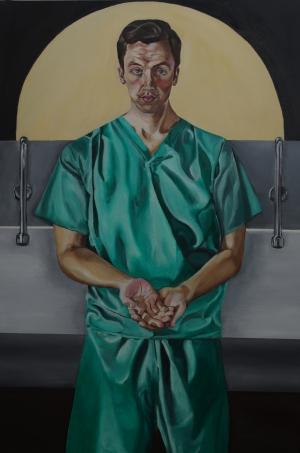Self Portrait with green scrubs. 2017.