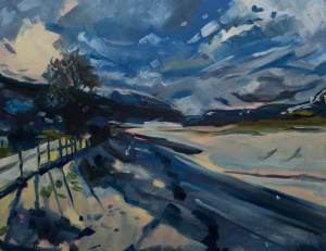 """Loch Ness at Dores (winter #1). 2018. Oil on canvas. 18"""" x 14"""""""