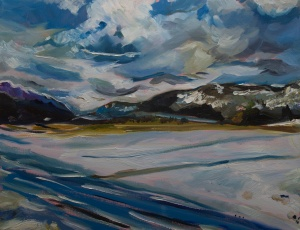 """Loch Ness at Dores (winter #2). 2018. Oil on canvas. 18"""" x 14"""""""