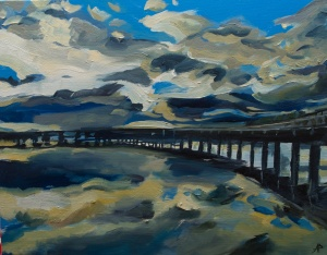 """Clouds over the Tay Rail Bridge. 2018. Oil on canvas. 18"""" x 14"""""""