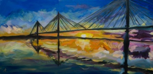 """Queensferry Crossing. 2018. Oil on canvas. 19.5"""" x 39.8"""""""