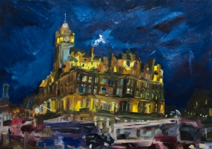 """The Balmoral at Night #2. 2018. Oil on canvas. 16.5"""" x 23.4"""""""