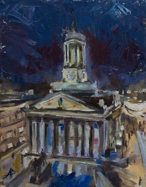 "Museum of Modern Art, Glasgow. 2018. Oil on canvas. 9.8"" x 7.9"""