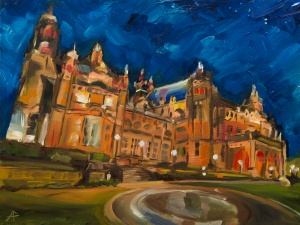 """Kelvingrove Art Gallery and Museum at night. 2018. Oil on canvas. 16"""" x 12"""""""