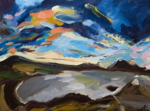 """View of Cuilin Mountains from Raasay Island. 2018. Oil on canvas. 16"""" x 12"""""""